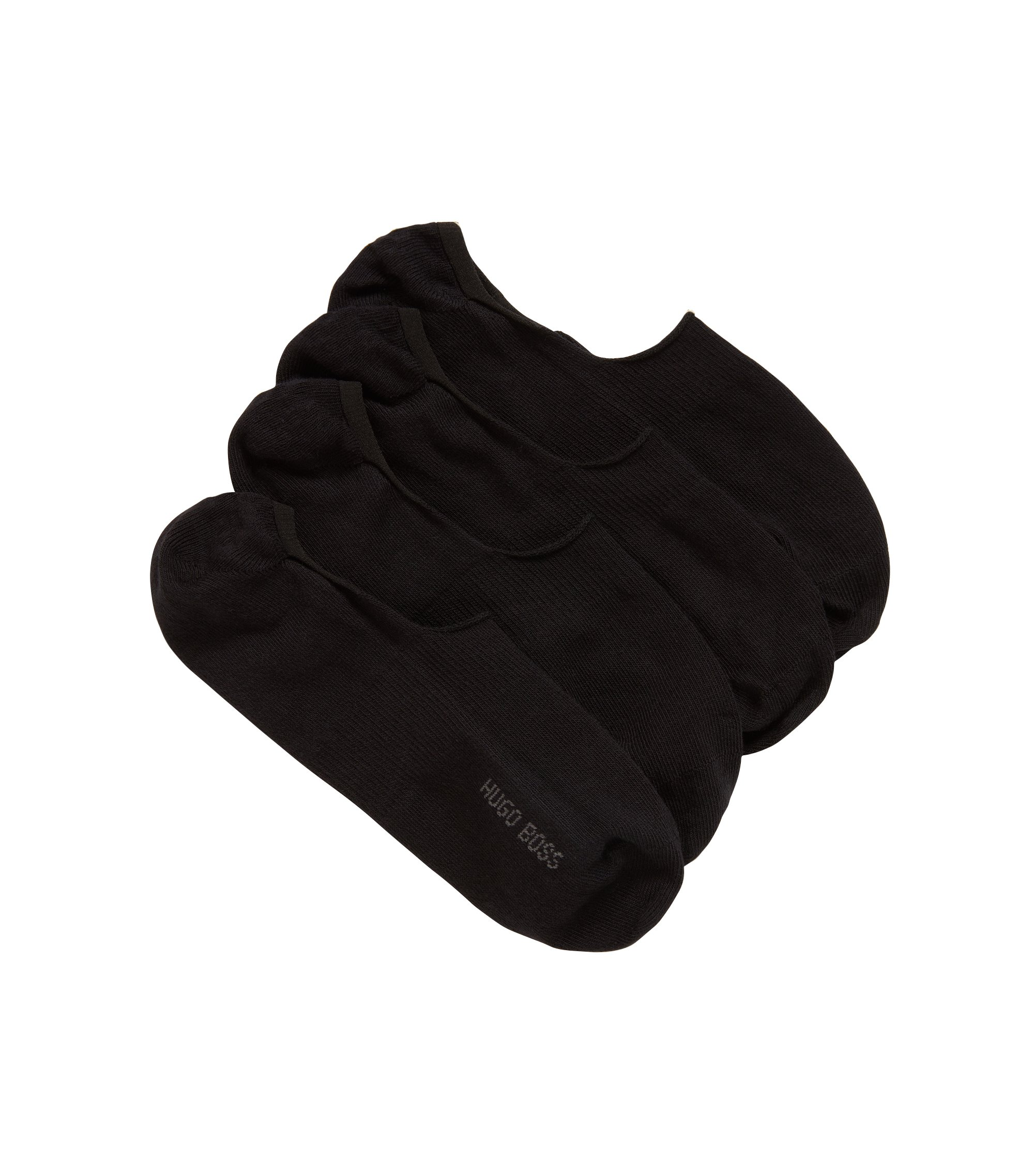 Two-pack of cotton-blend invisible socks with silicone, Black