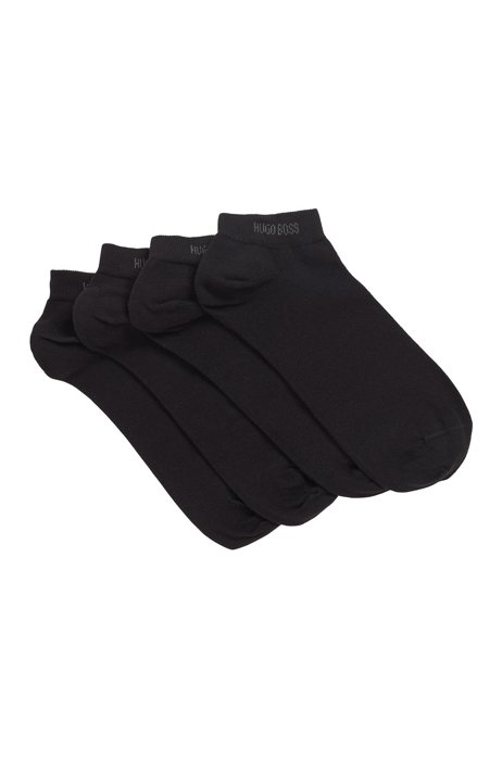 Two-pack of ankle socks in a cotton blend, Black