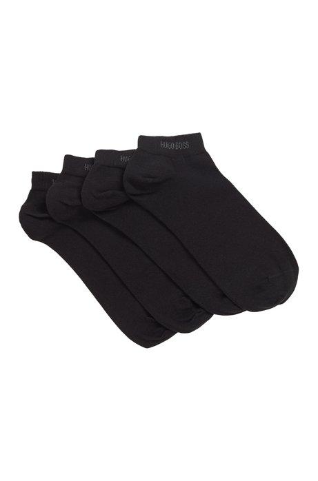 Lot de deux paires de chaussettes basses en coton mélangé, Noir