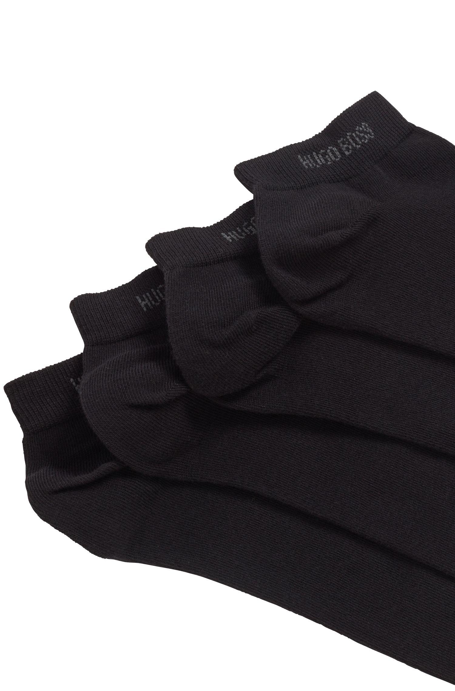 Set van twee paar enkelsokken van een katoenmix, Zwart