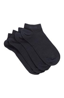 Calzini corti in misto cotone in confezione da due, Blu scuro