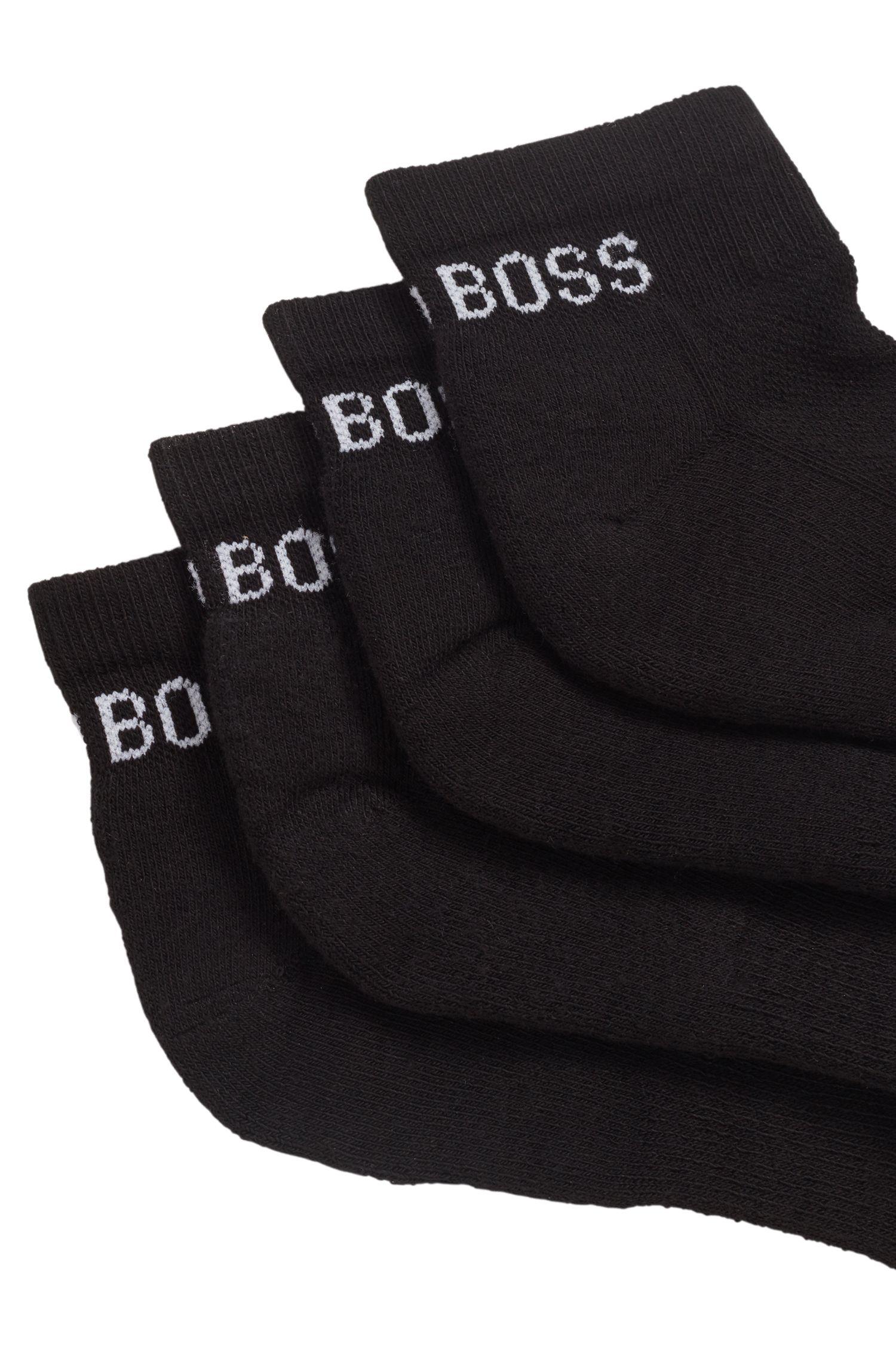 Zweier-Pack gepolsterte Sneakers-Socken aus elastischem Baumwoll-Mix, Schwarz