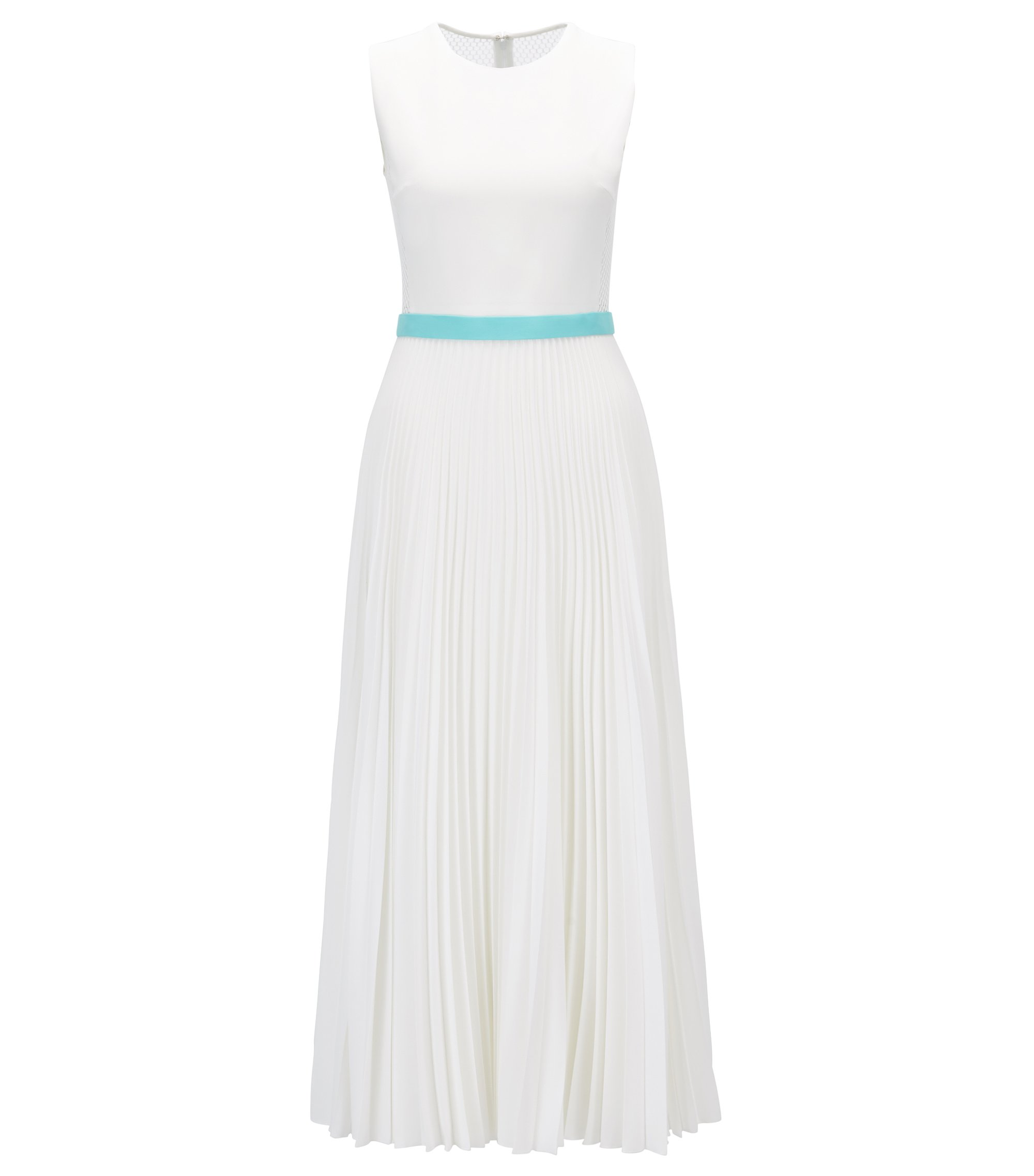 Gallery Collection sleeveless dress with plissé skirt, Natural