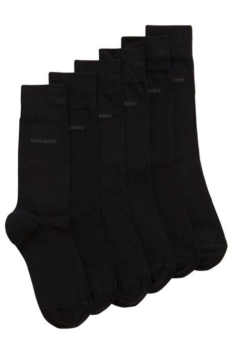 Lot de trois paires de chaussettes mi-mollet en coton mélangé, Noir