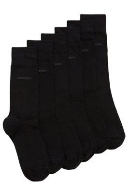 Three-pack of regular-length socks in a cotton blend, Black