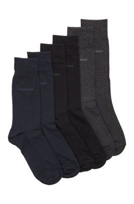 Three-pack of regular-length socks in a cotton blend, Patterned