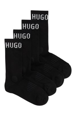 Two-pack of sporty logo socks in a cotton blend, Black