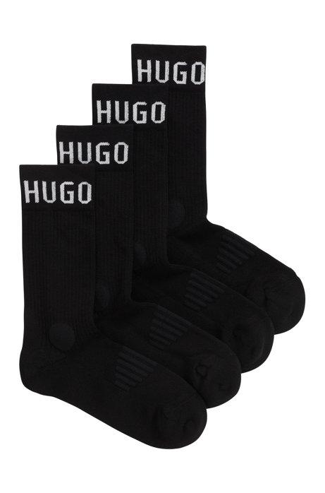 Quarter-length socks in a cotton-rich blend, Black