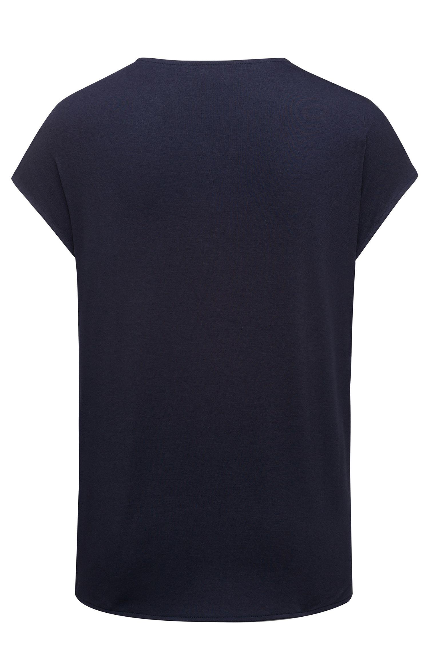 Top de manga casquillo con parte delantera en seda elástica , Azul oscuro