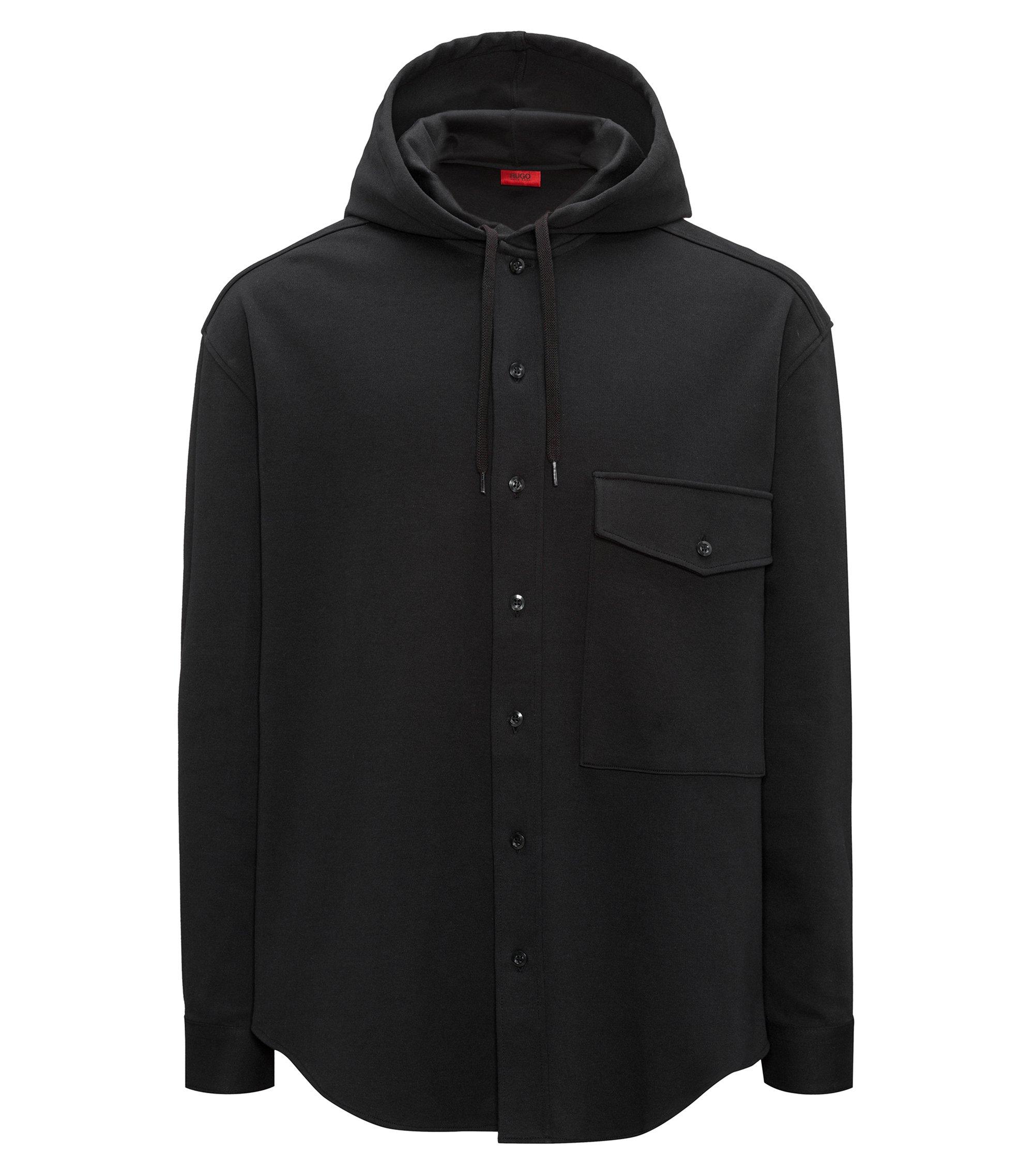 Sudadera con capucha abotonada en algodón interlock, Negro