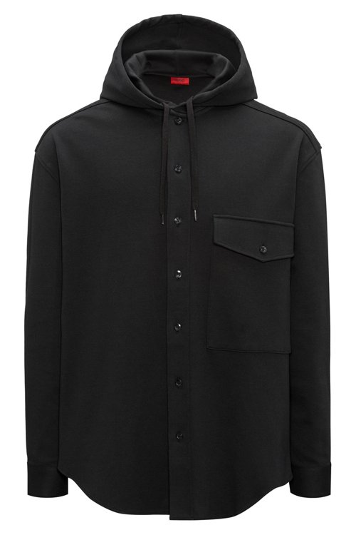 Hugo Boss - Button-through hooded sweatshirt in interlock cotton - 1