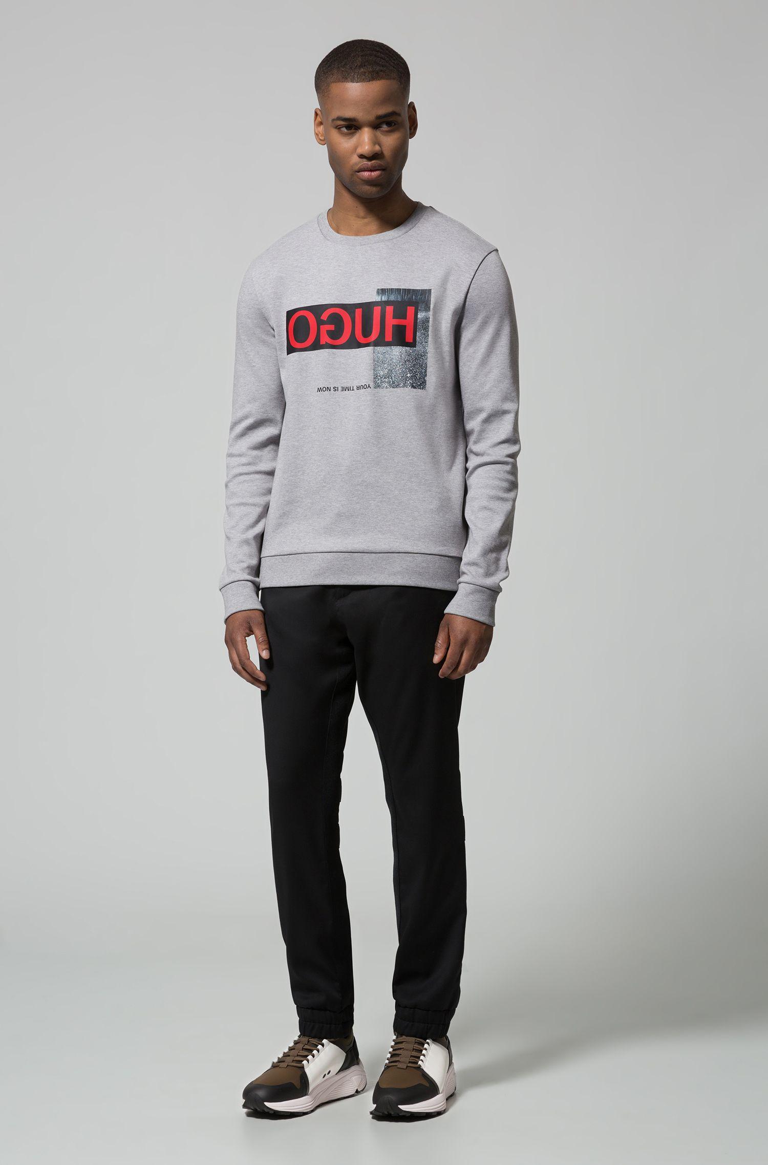 Regular-fit sweatshirt in interlock cotton with reverse logo, Dark Grey