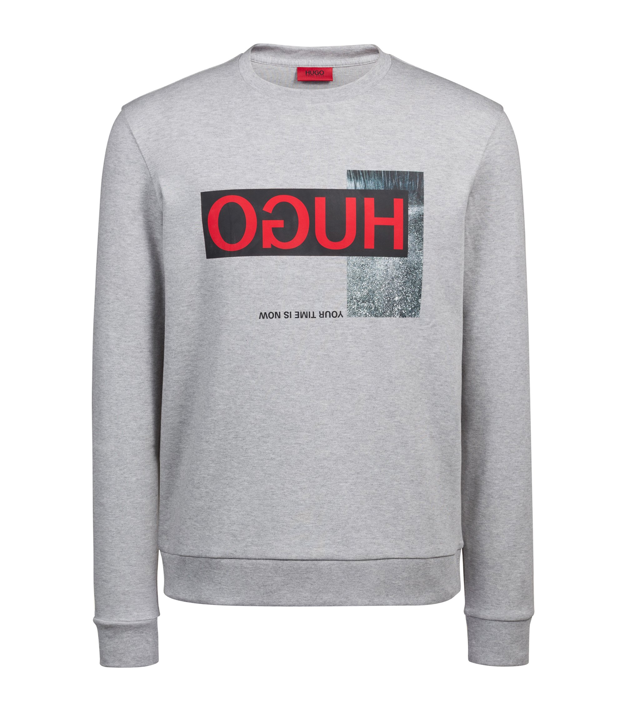 Regular-fit sweatshirt in interlock cotton with reverse logo, Dark Grey