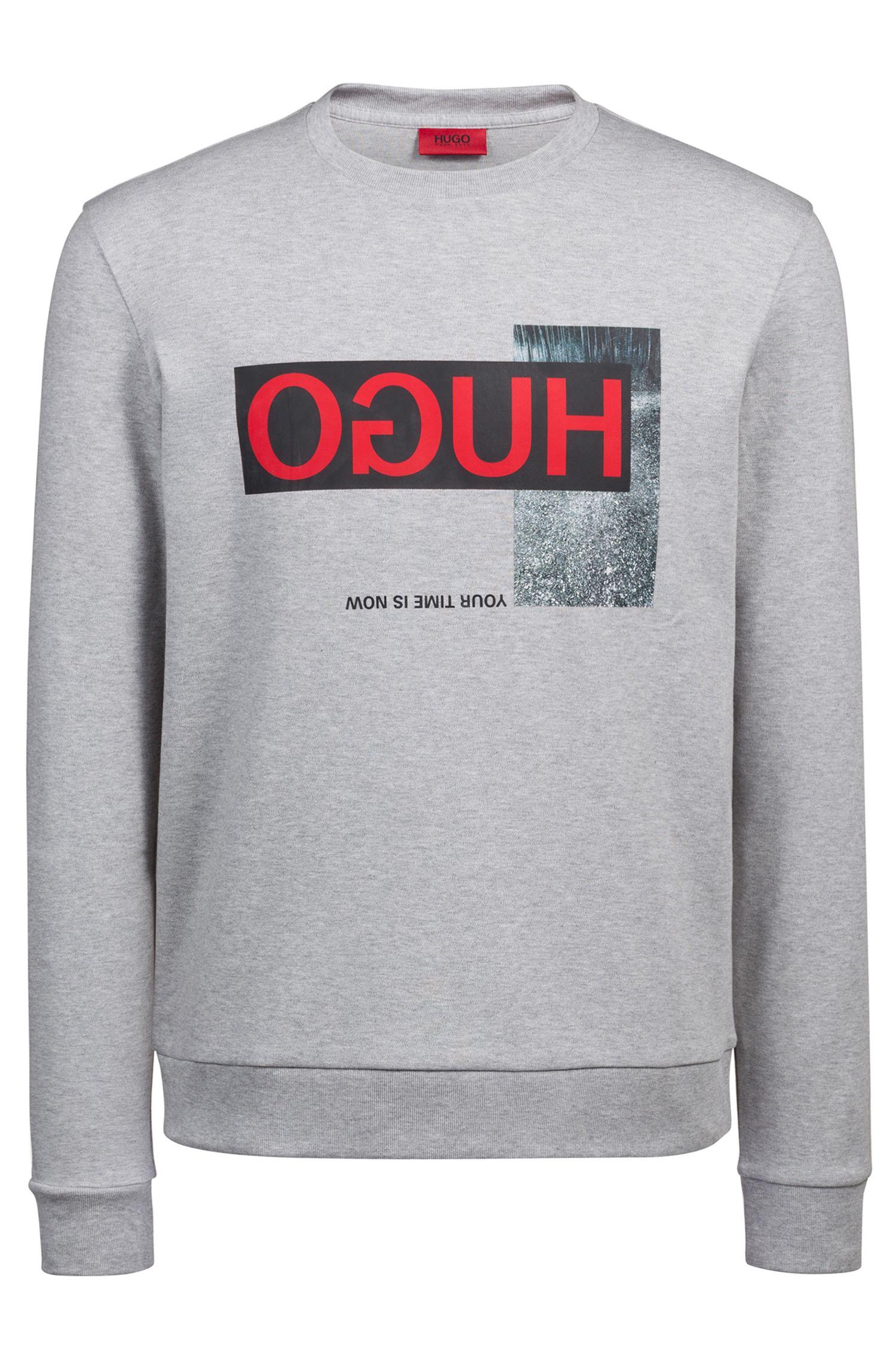 Sweatshirt aus  Interlock-Baumwolle mit Reversed-Logo, Dunkelgrau