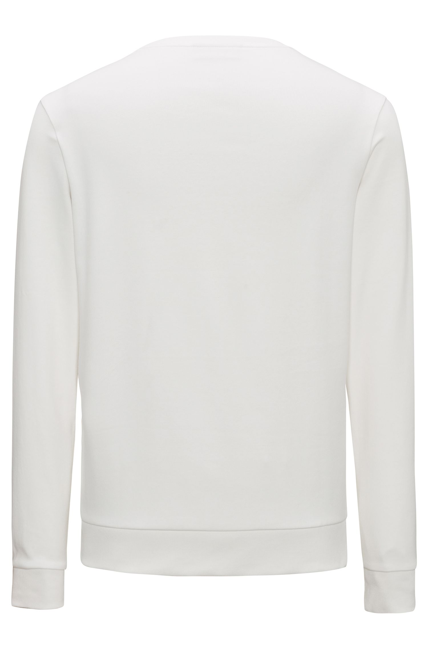 Regular-fit sweater van interlocked katoen met gespiegeld logo, Naturel