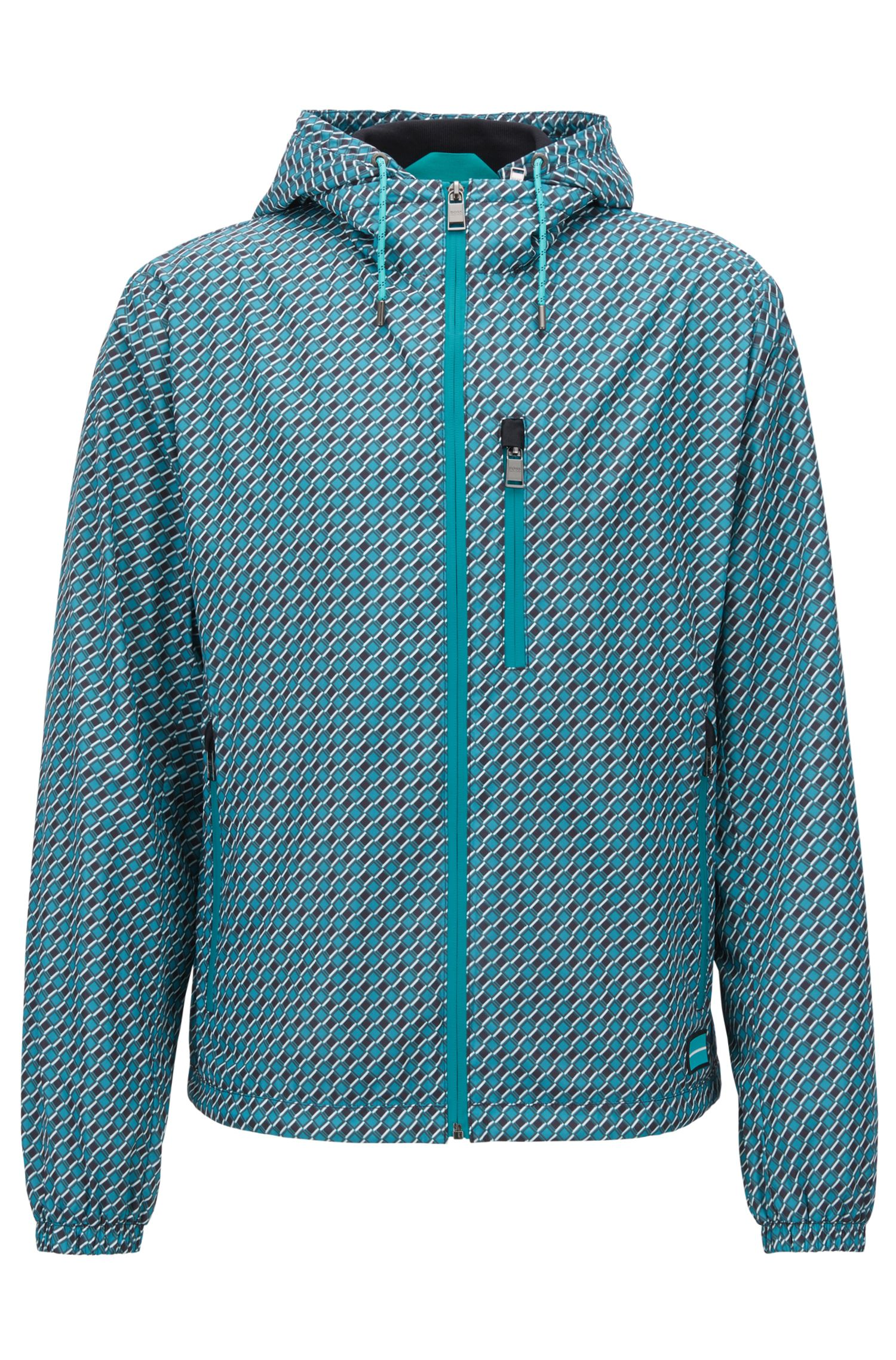 Windbreaker jacket in water-repellent fabric with geometric print, Green