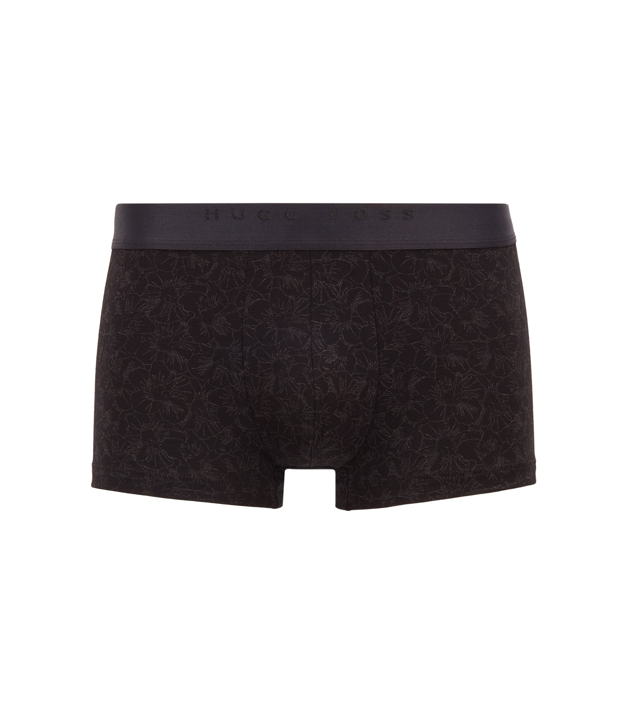 Stretch jersey trunks with all-over floral print, Schwarz