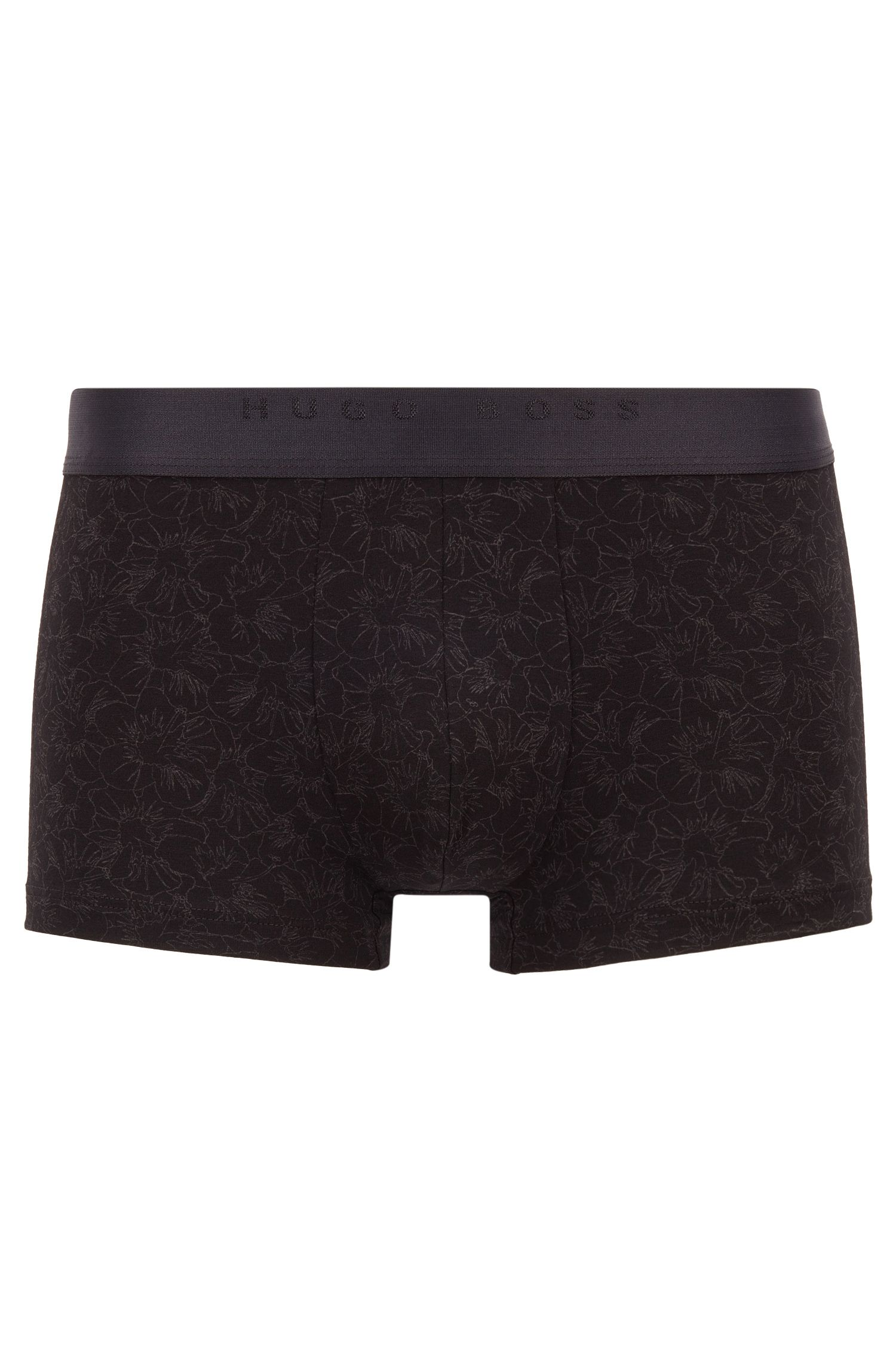 Stretch jersey trunks with all-over floral print, Zwart