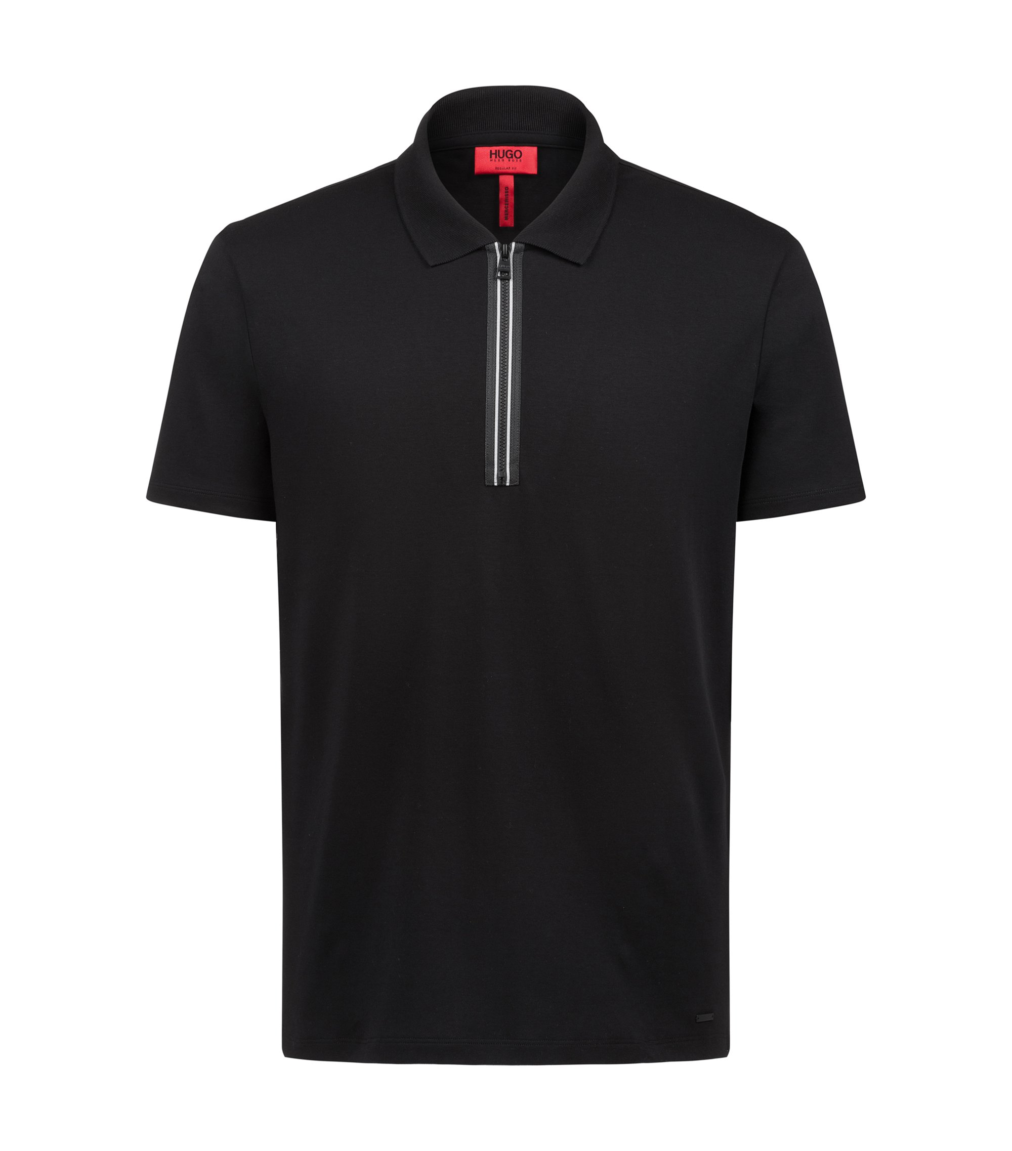 Polo shirt in interlock cotton with contrast zip detail, Black