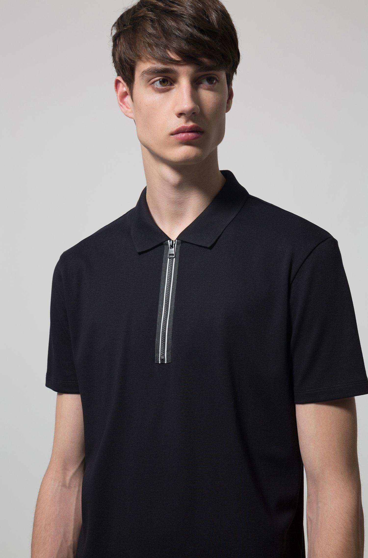 Polo shirt in interlock cotton with contrast zip detail