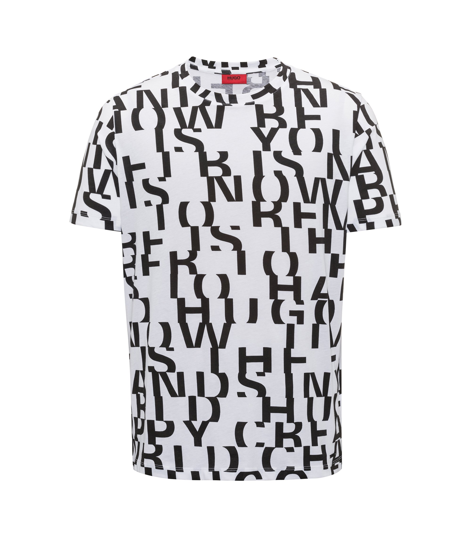 T-shirt en coton au motif message abstrait, Blanc