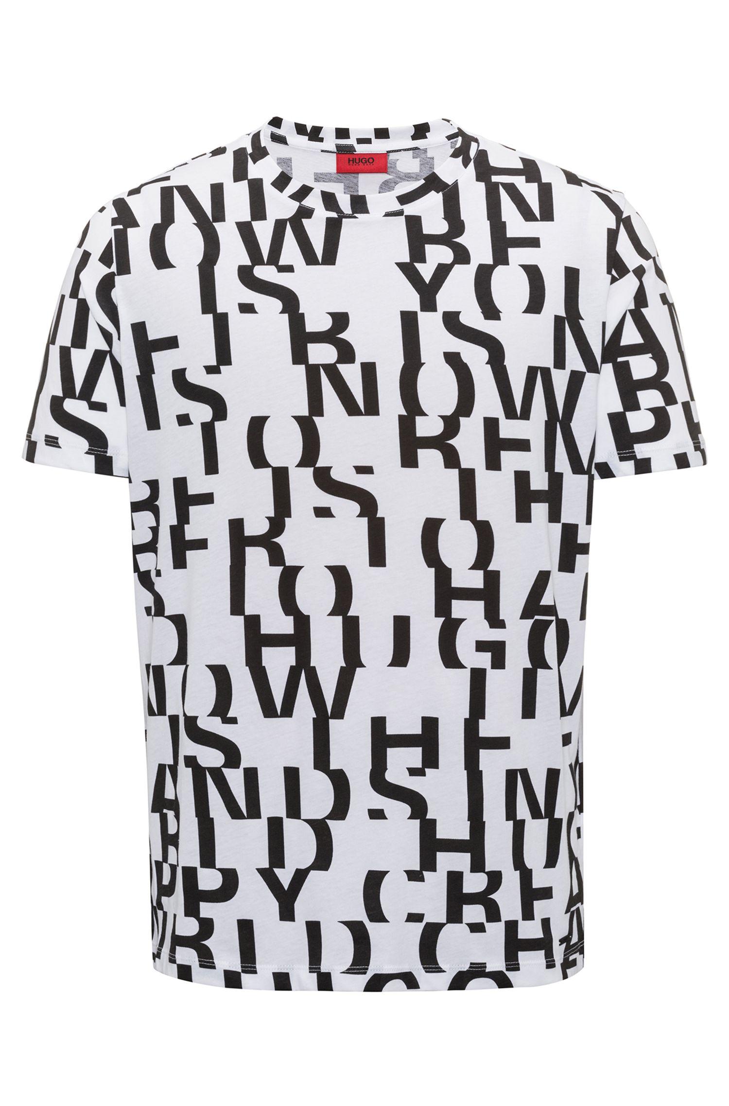 T-shirt en coton au motif message abstrait, Blanc