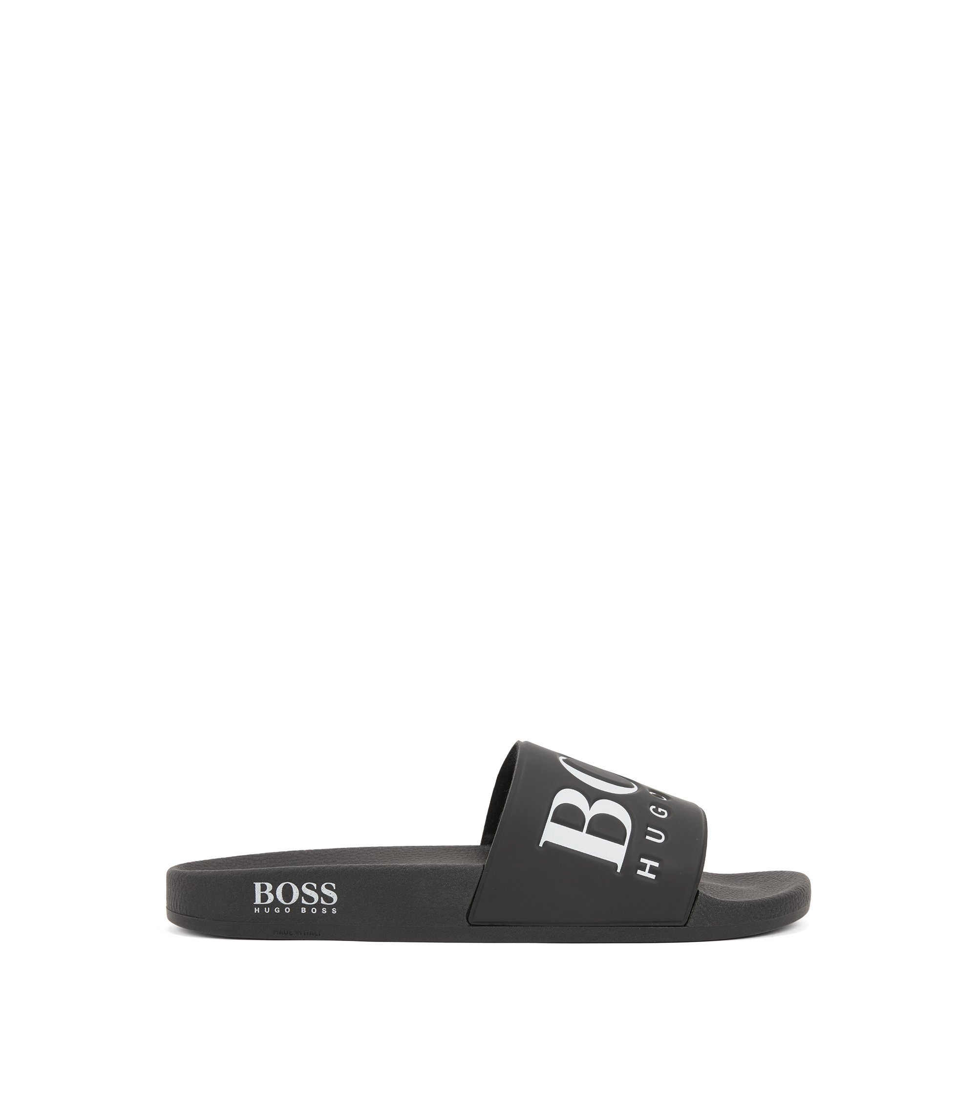 Italian-made rubber slider sandals with contrast logo, Black