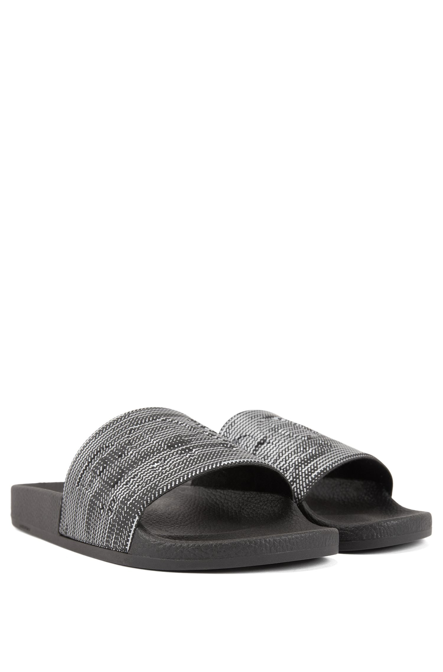 Italian-made rubber slide sandals with contrast logo, Silver