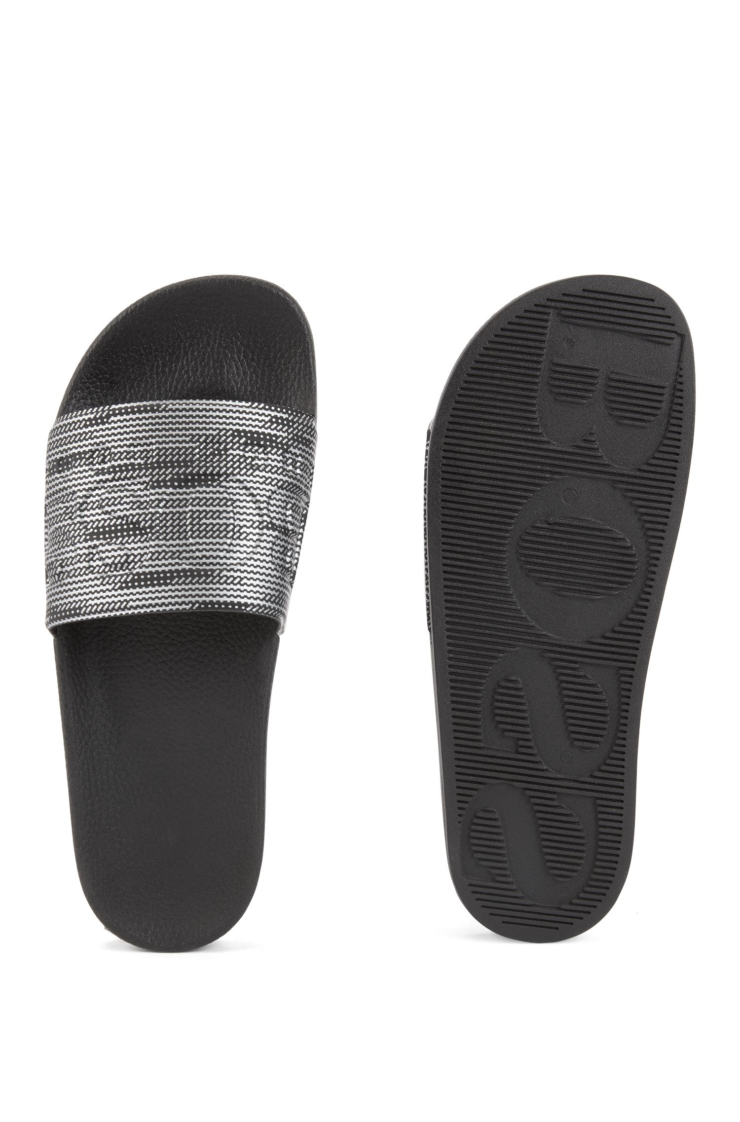 In Italien gefertigte Slides aus Gummi mit kontrastfarbenem Logo, Silber