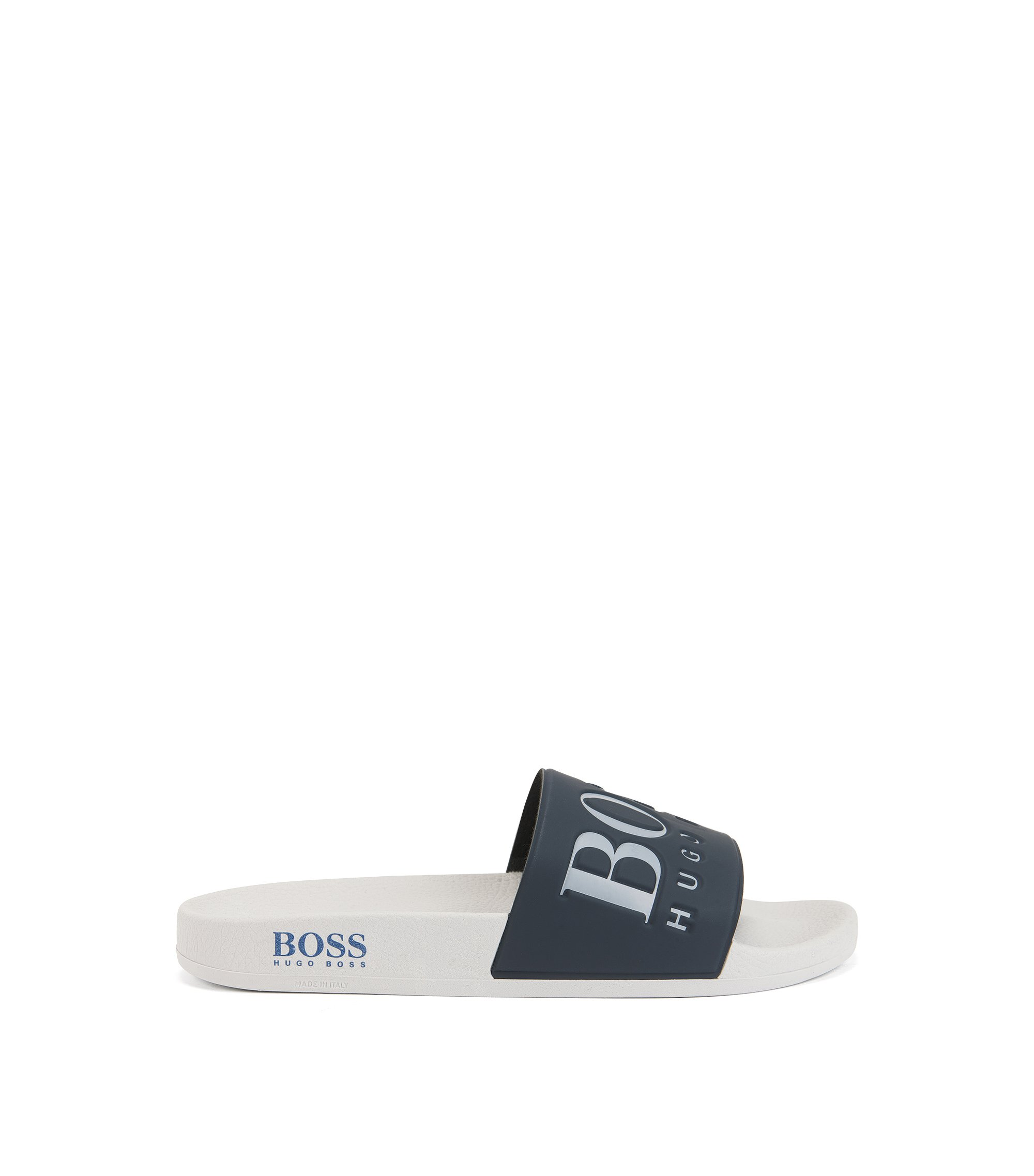 Italian-made rubber slider sandals with contrast logo, Dark Blue