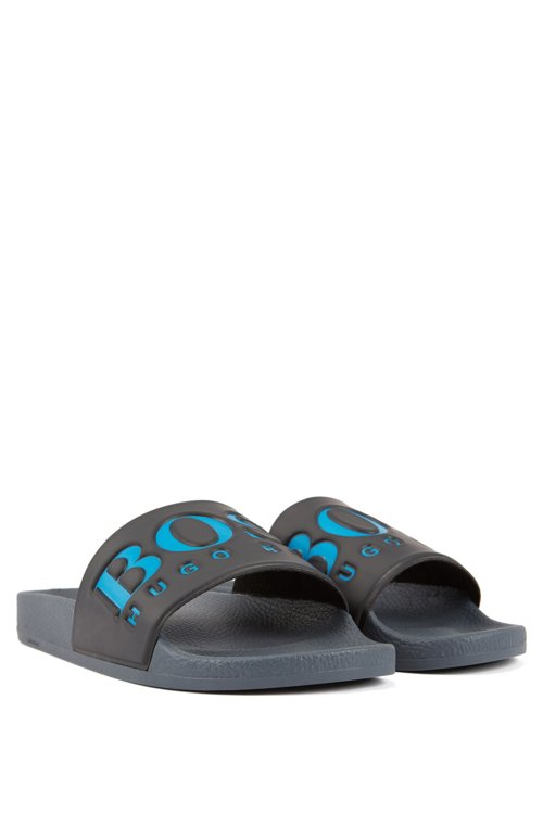 Hugo Boss - Italian-made rubber slide sandals with contrast logo - 2
