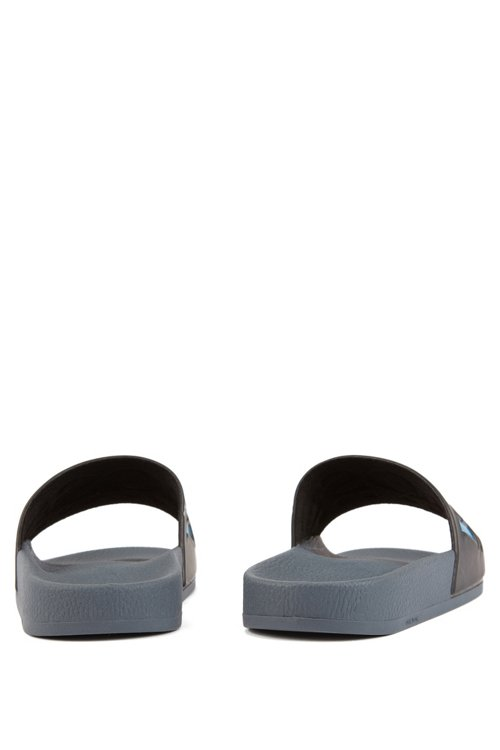 Hugo Boss - Italian-made rubber slide sandals with contrast logo - 4