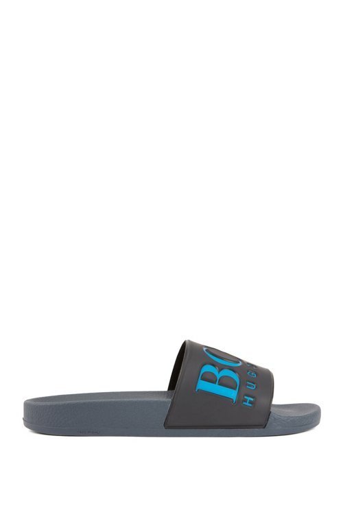 Hugo Boss - Italian-made rubber slide sandals with contrast logo - 1