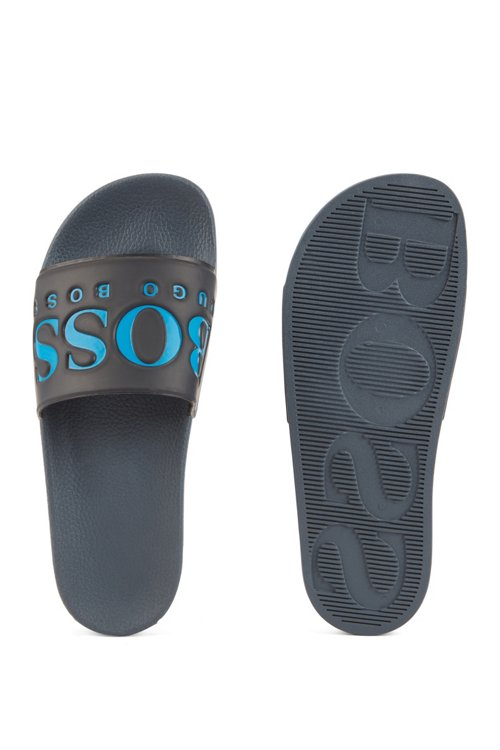 Hugo Boss - Italian-made rubber slide sandals with contrast logo - 3