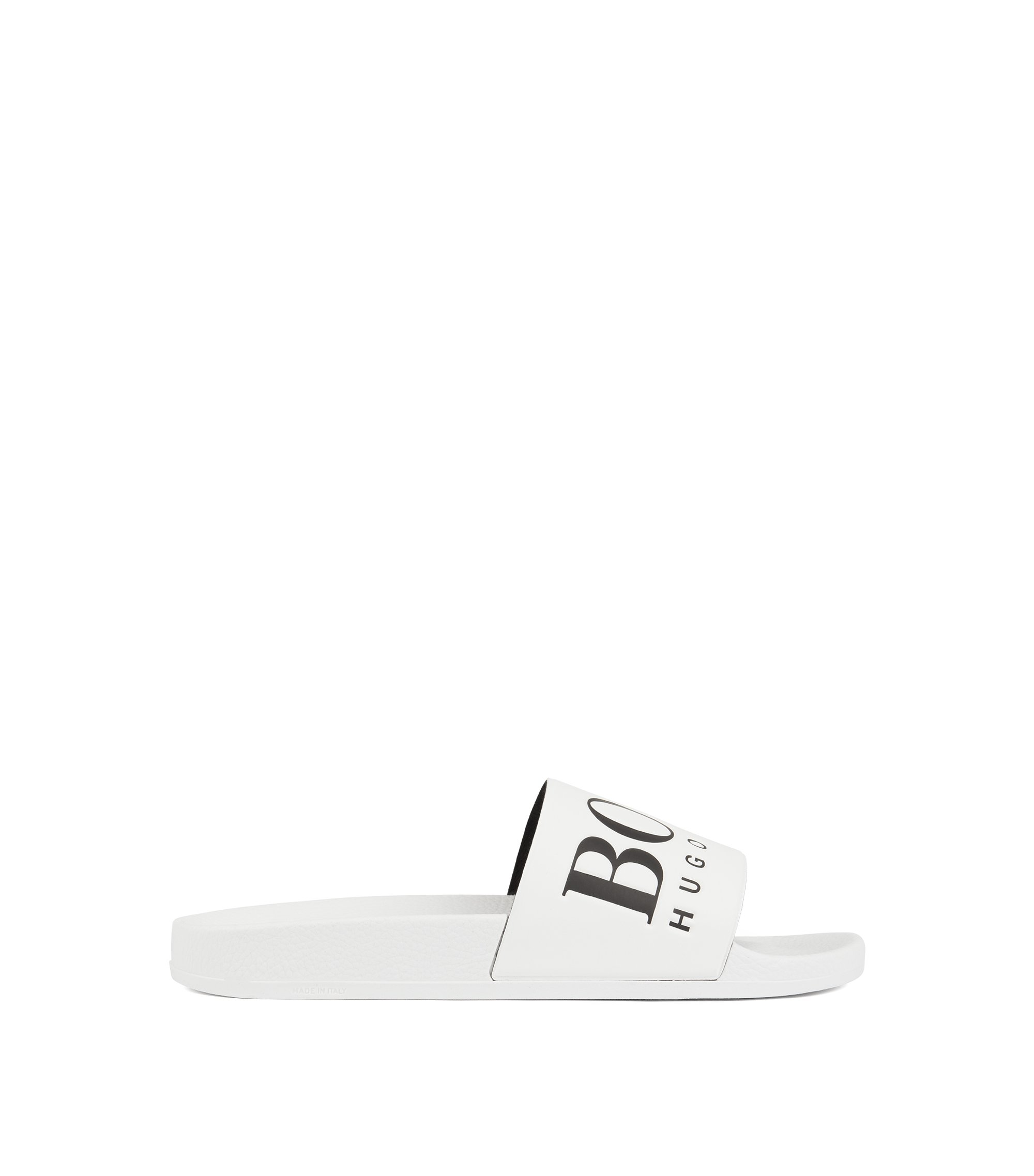 Italian-made rubber slide sandals with contrast logo, White