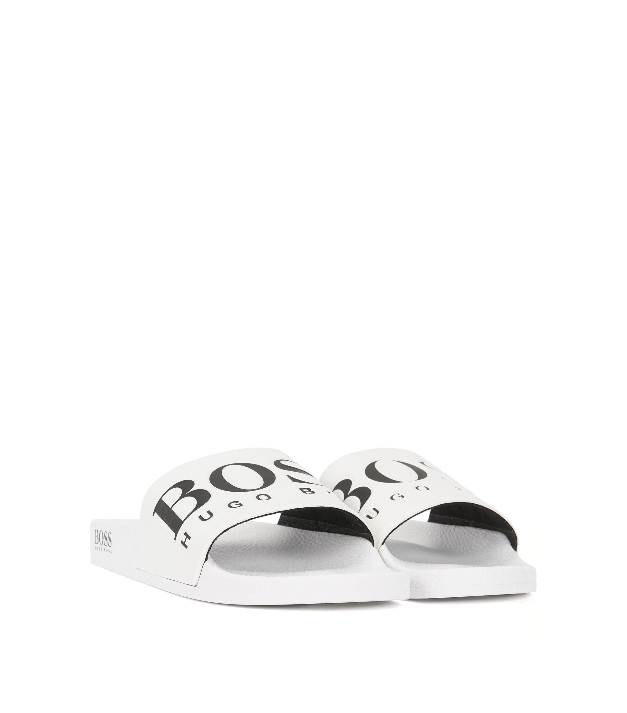 Italian-made rubber slider sandals with contrast logo, White