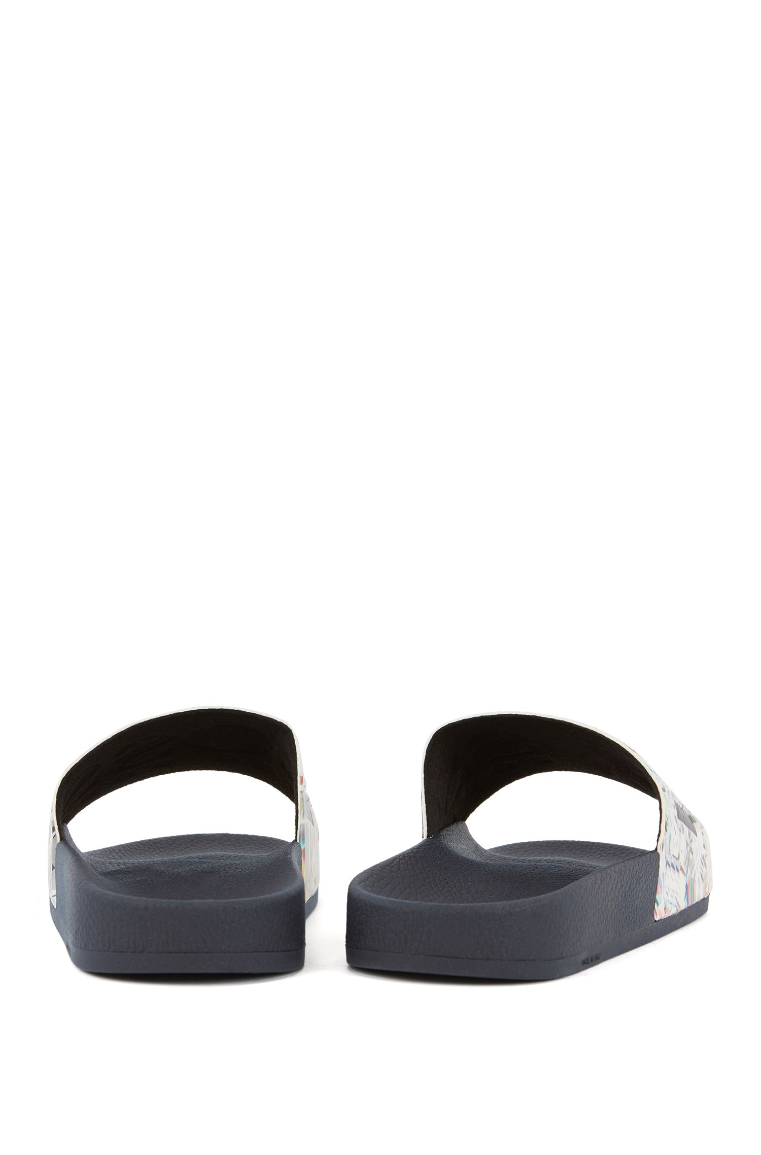 Italian-made rubber slide sandals with contrast logo, Open White
