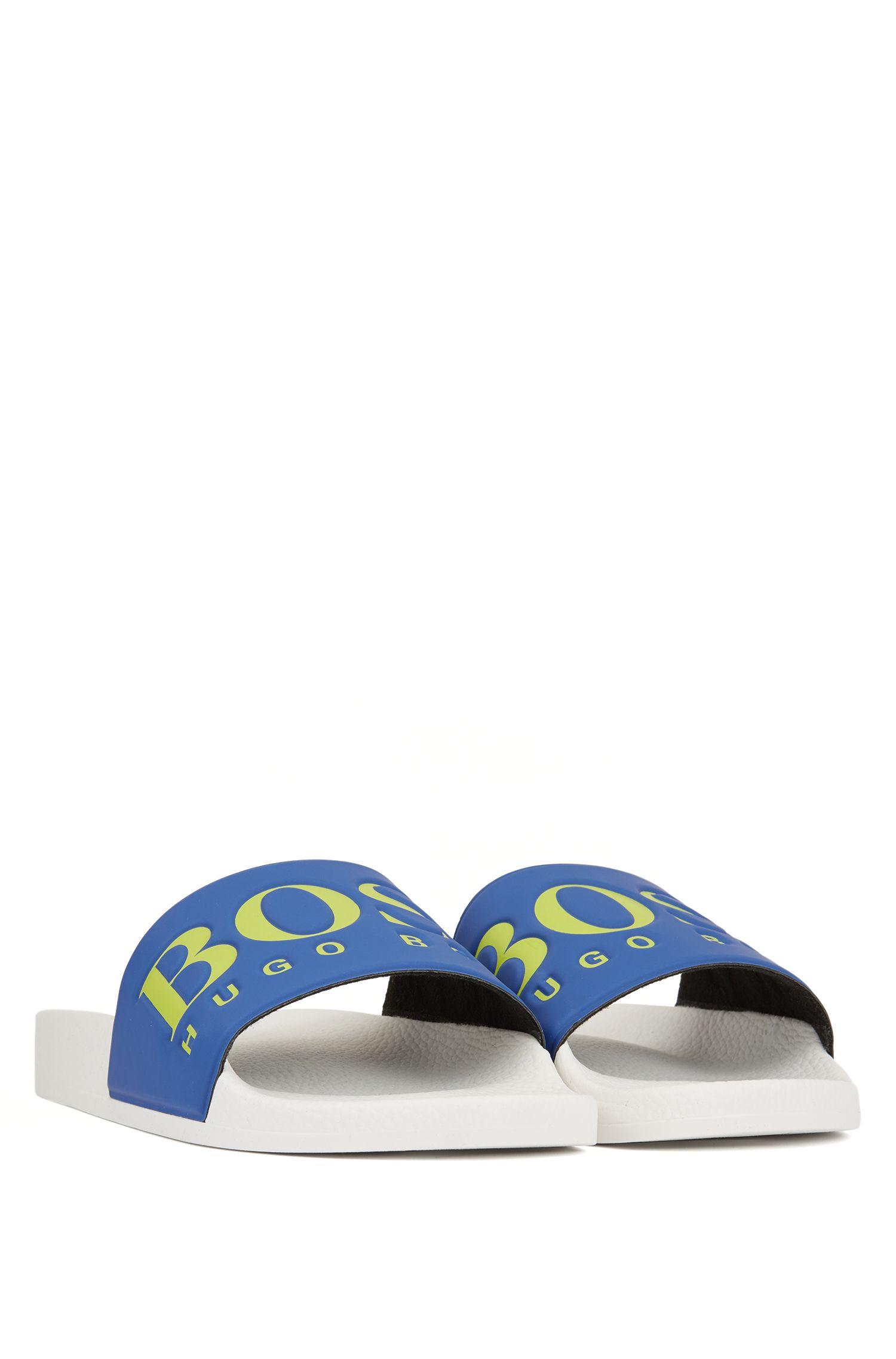 Hugo Boss - Italian-made rubber slide sandals with contrast logo - 2