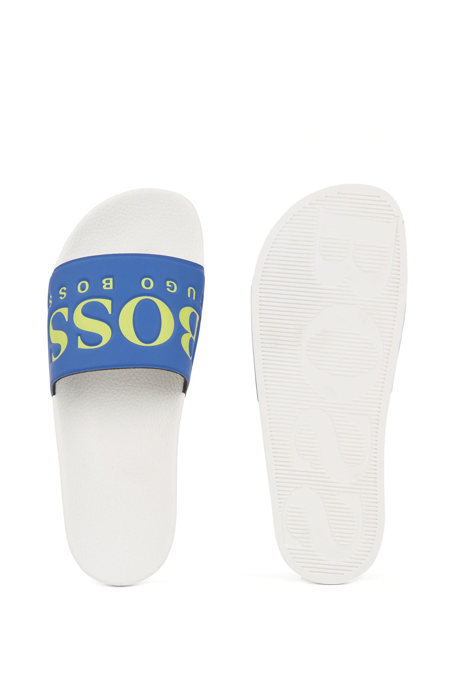 Hugo Boss - Italian-made rubber slide sandals with contrast logo - 4