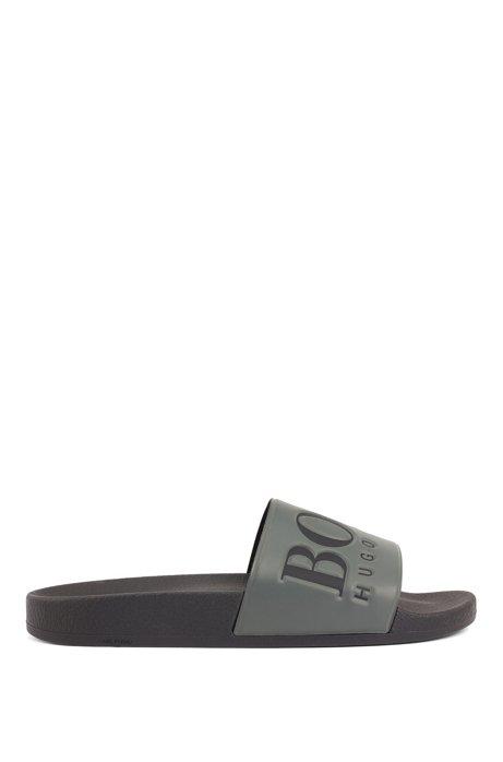 Italian-made rubber slide sandals with contrast logo, Dark Green