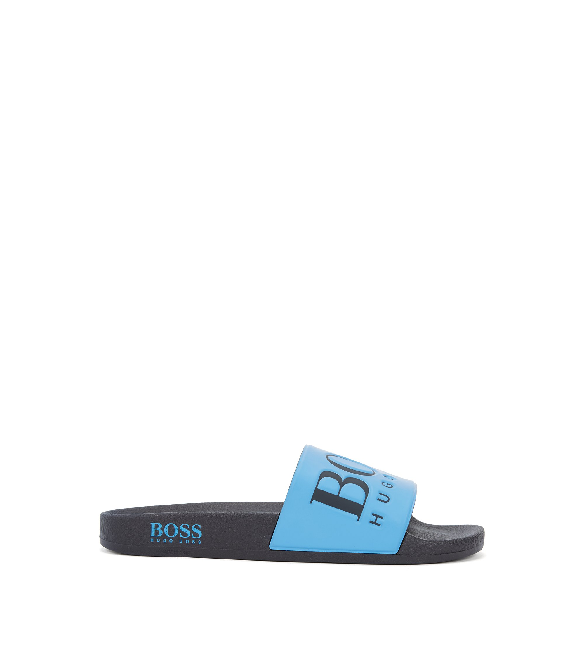 Italian-made rubber slider sandals with contrast logo, Turquoise