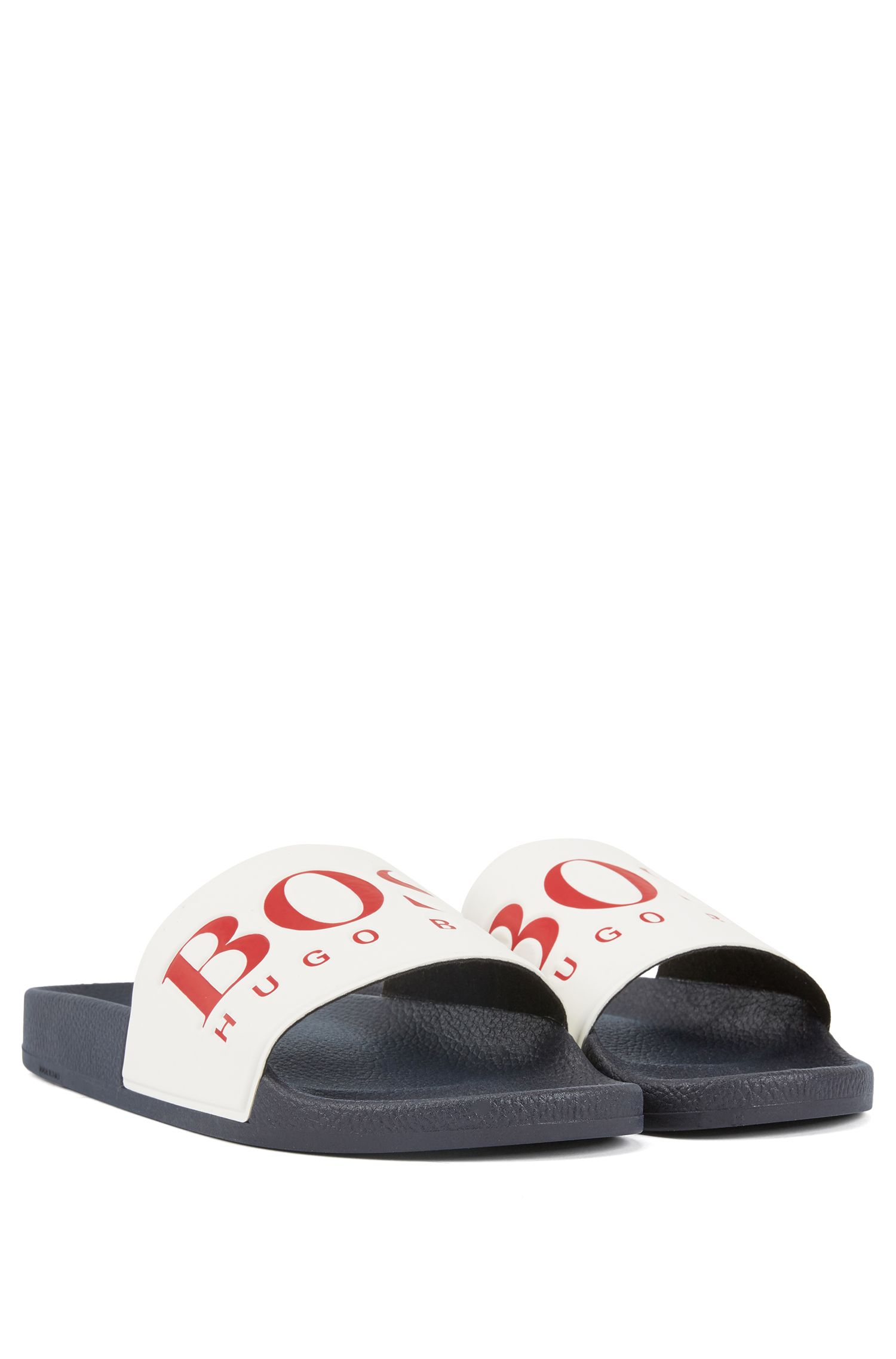 Italian-made rubber slide sandals with contrast logo, Blue