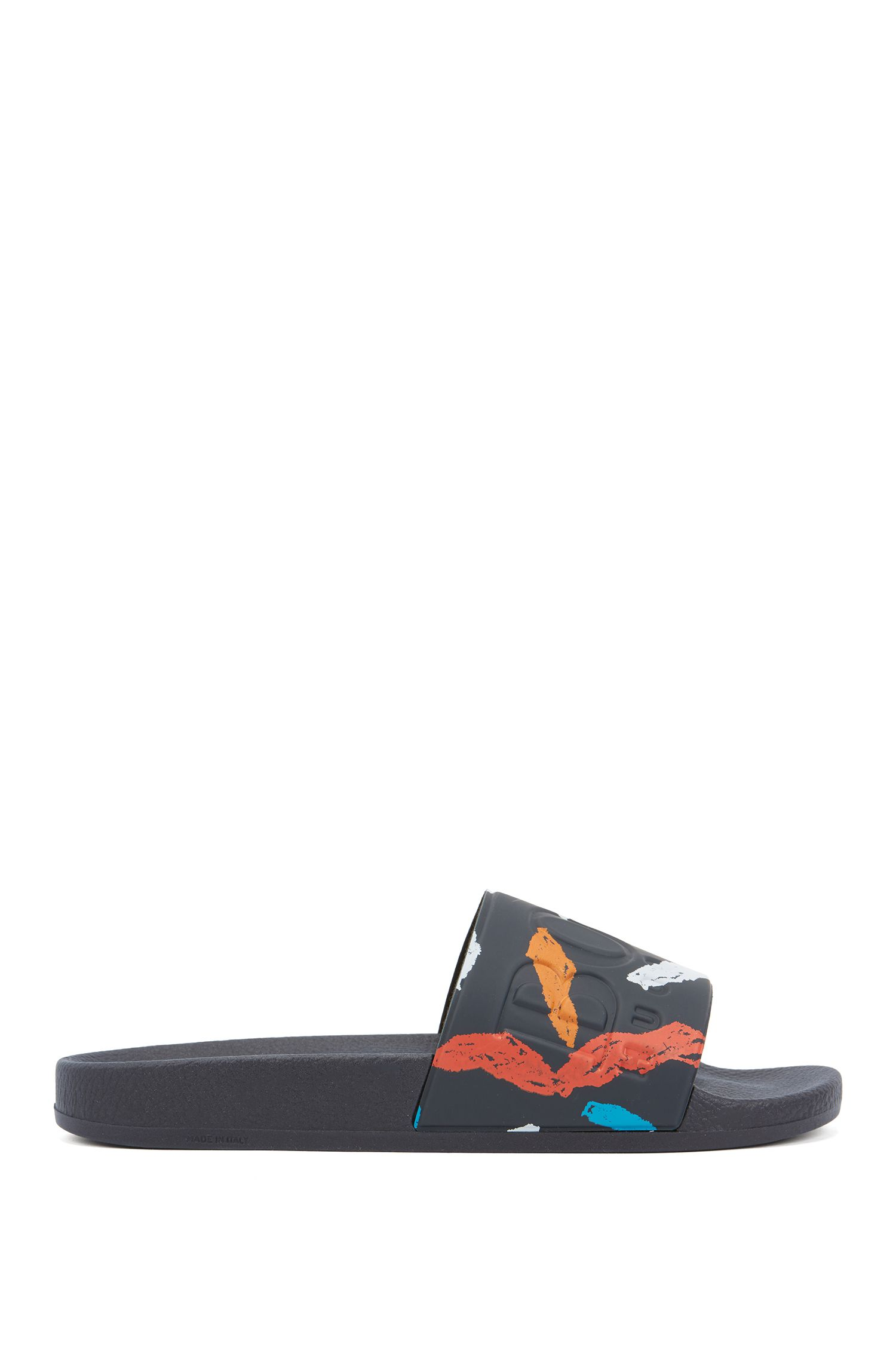 Italian-made rubber slide sandals with contrast logo, Dark Blue