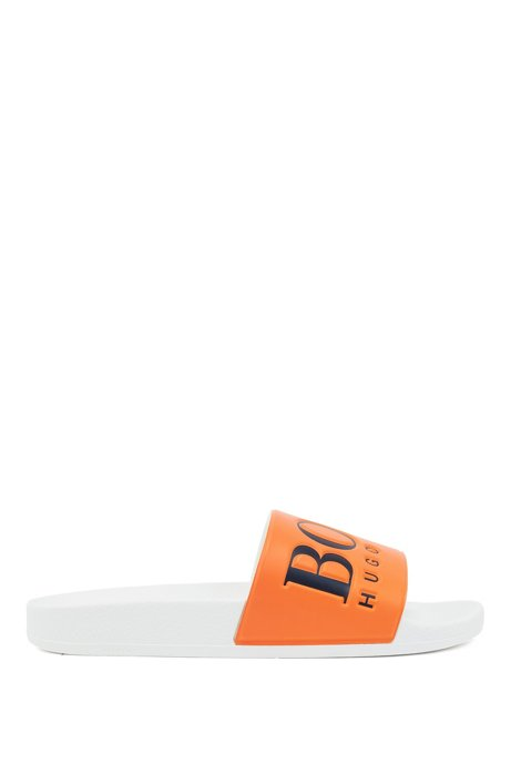 Italian-made rubber slide sandals with contrast logo, Open Orange