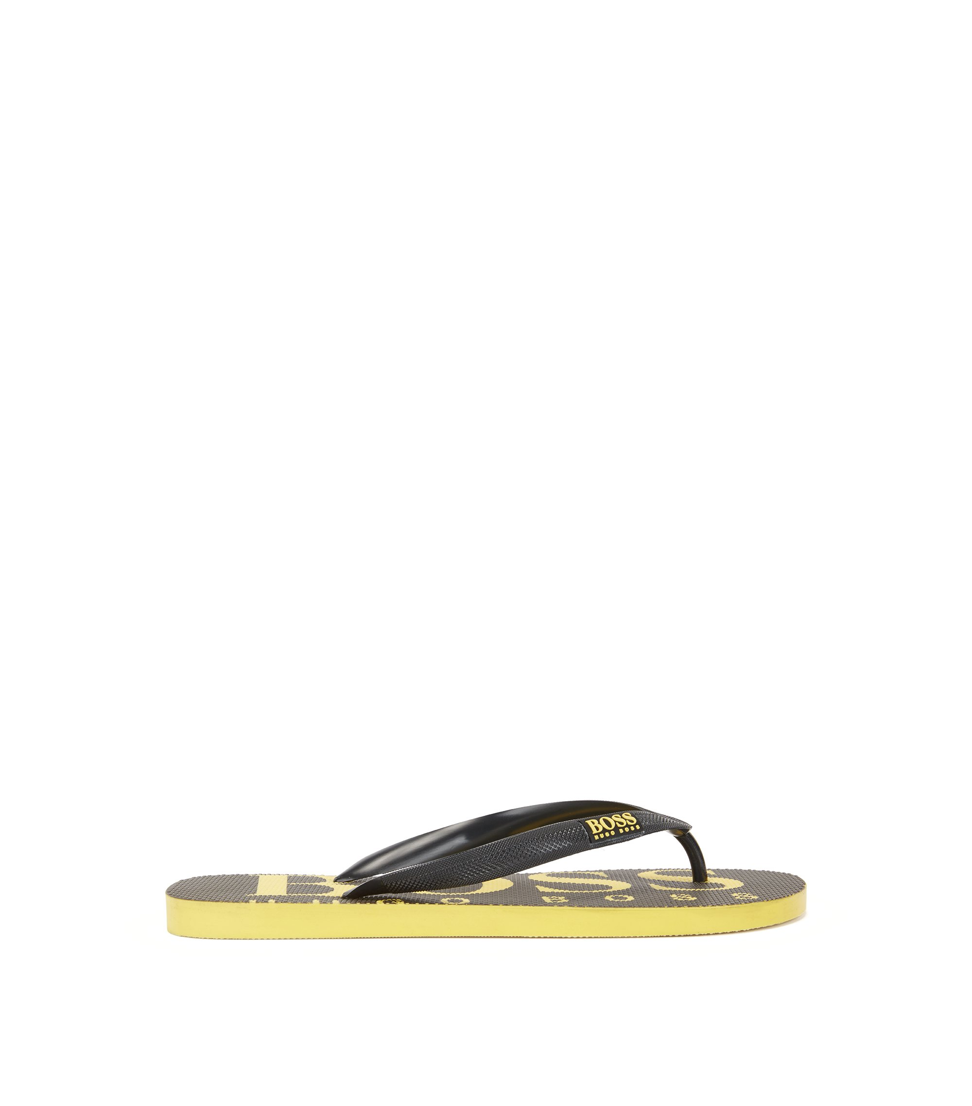 Rubber flip-flops with contrasting logo detail, Black
