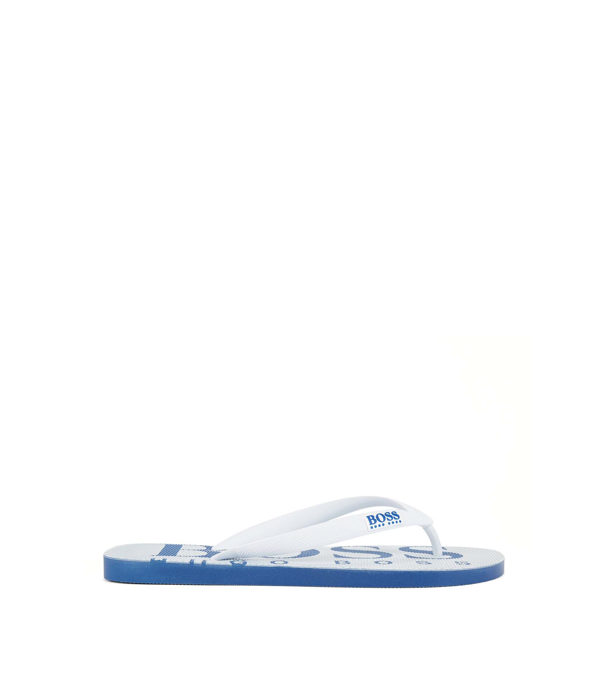 Rubber flip-flops with contrasting logo detail, White
