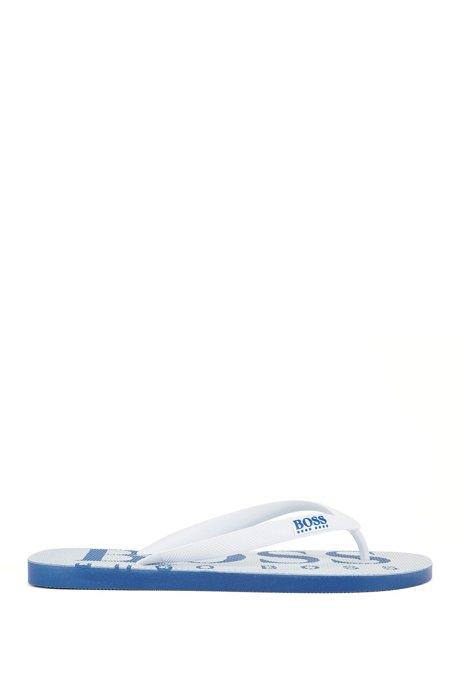 Flipflops aus Gummi mit kontrastfarbenem Logo, Weiß
