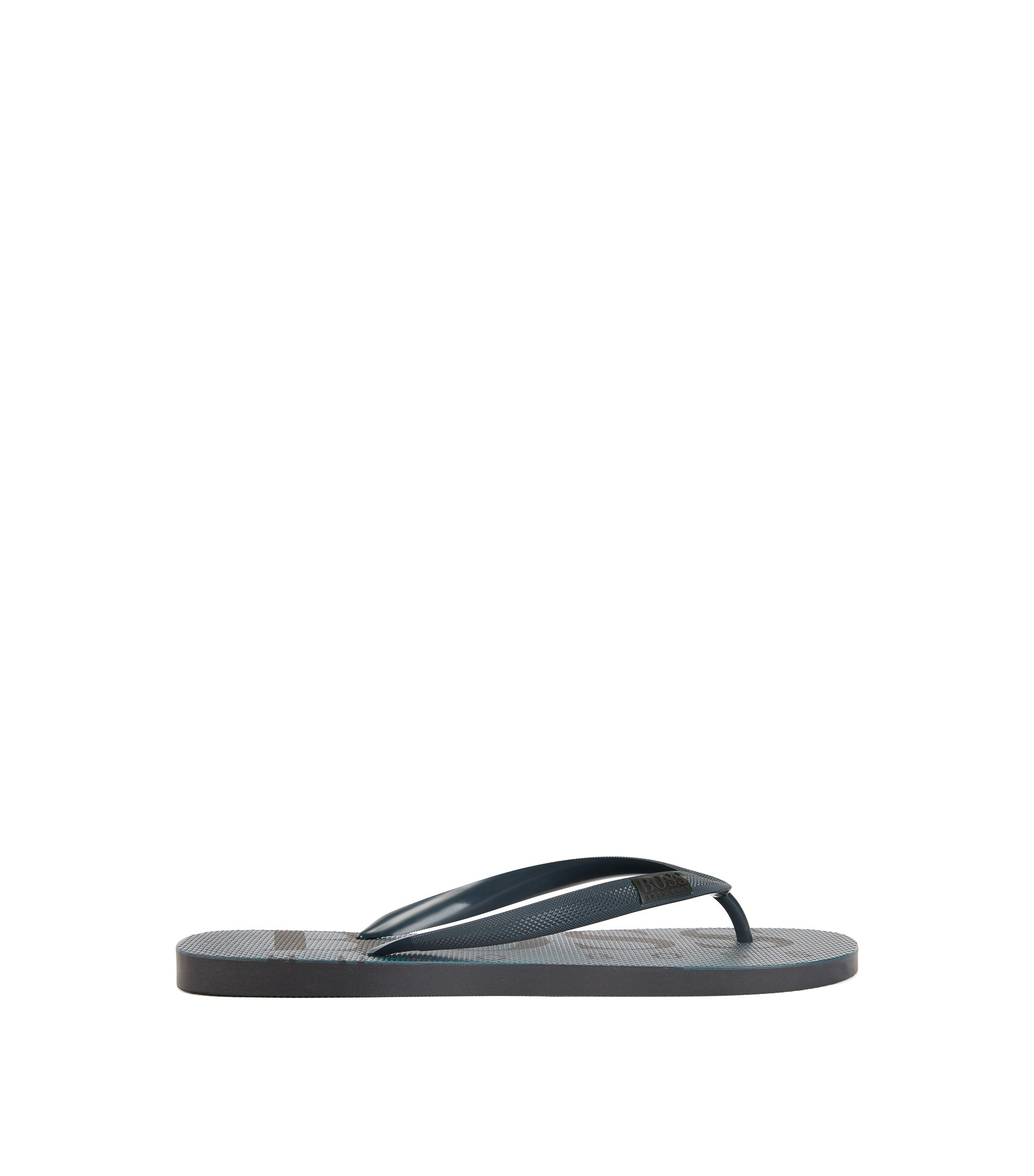 Rubber flip-flops with contrasting logo detail, Dark Green