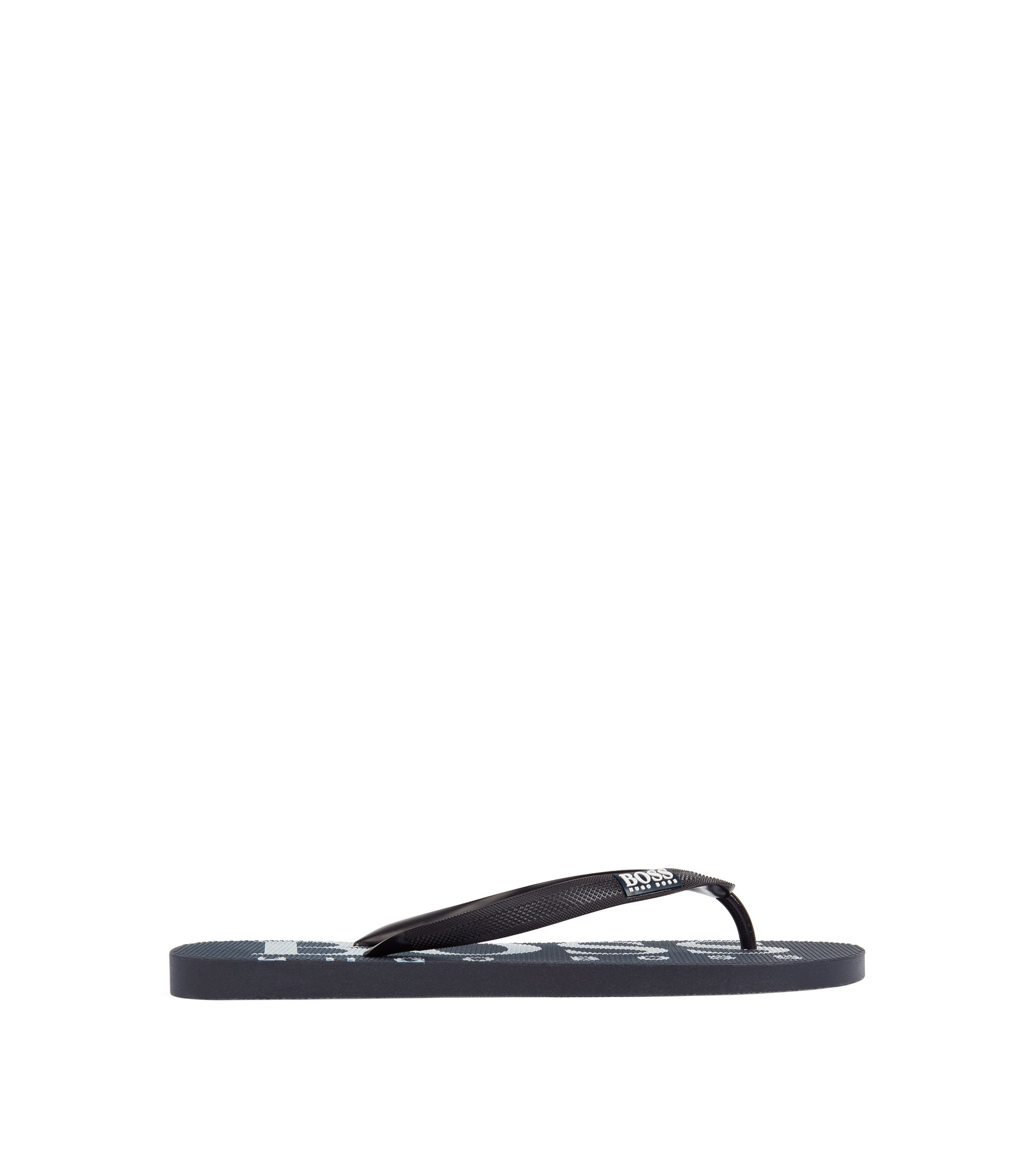 Rubber flip-flops with contrasting logo detail, Dark Blue