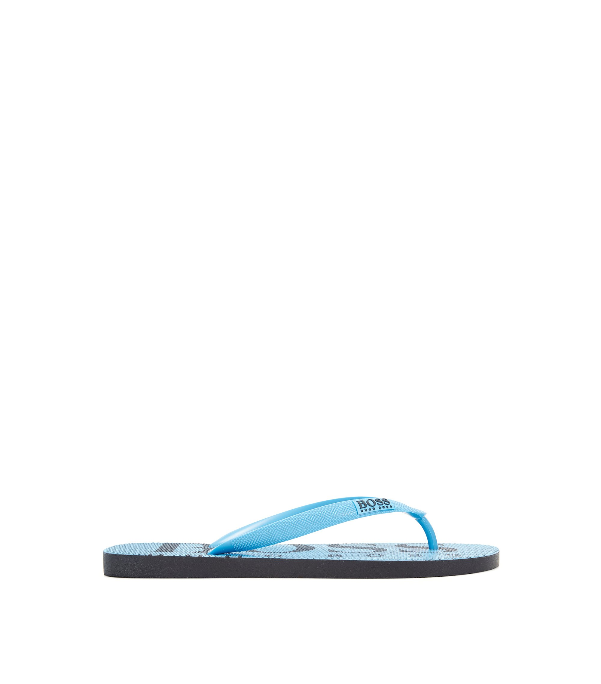 Rubber flip-flops with contrasting logo detail, Light Blue